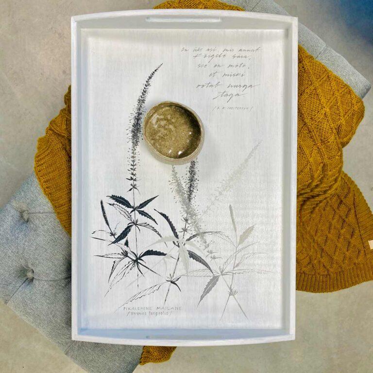 Taimemotiiviga valge kandik ja villane pleed