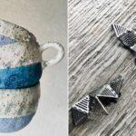 käsitööna valmistatud keraamilised kruusid ja hõbedast Anneli Tammiku kõrvarõngad tetris